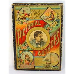 1888 MCLOUGHLIN BROS. PICTORIAL AUTHORS GAME IN OR