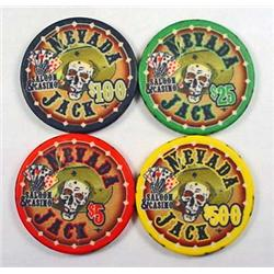 LOT OF 4 NEVADA JACK SALOON AND CASINO POKER CHIPS