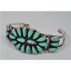 VINTAGE STERLING SILVER AND TURQUOISE CUFF BRACELE