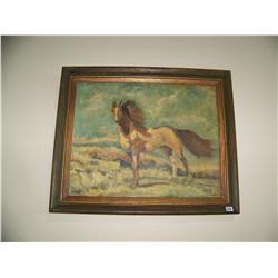 Framed vintage painting of a horse on hillside