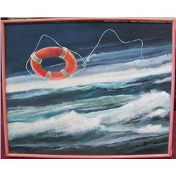 Roland Knight  A Raft at sea. Oil on board framed painting
