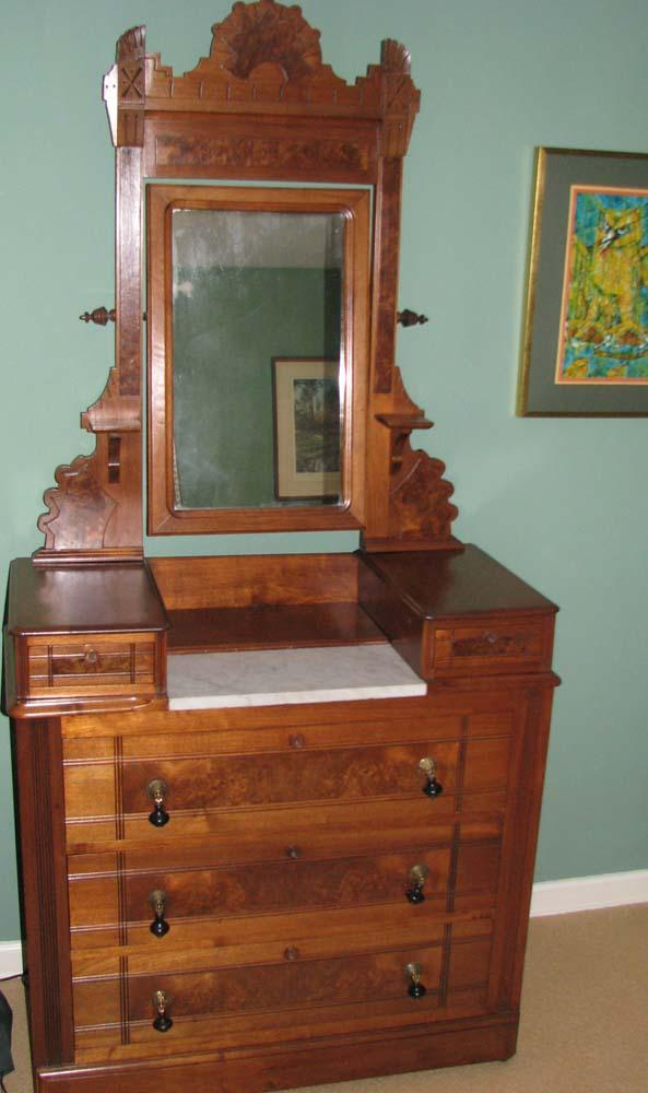 East Lake Victorian Marble Top Dressing Table With Mirror Loading Zoom