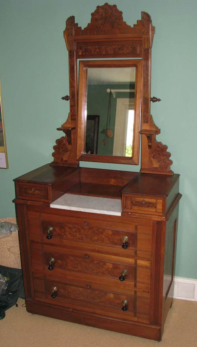 Victorian dressing table -  Image 3 East Lake Victorian Marble Top Dressing Table With Mirror