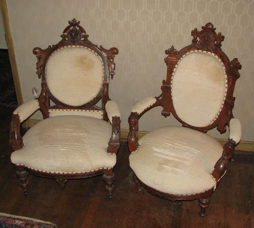 Pair Of Renaissance Revival King And Queen Chairs. Loading Zoom
