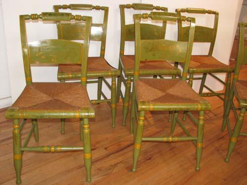 Set Of 6 Painted Antique Hitchcock Chairs. Loading Zoom