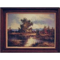 Julius Friedrich European Lake Landscape Painting
