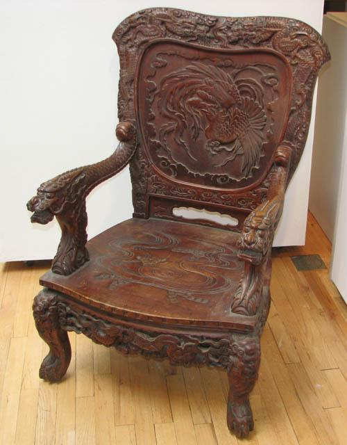 Antique Chinese Japanese Carved Chair 19th or Early 20th Century
