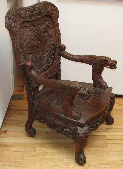 ... Image 3 : Antique Chinese & Japanese Carved Chair - 19th or Early 20th  Century ... - Antique Chinese & Japanese Carved Chair - 19th Or Early 20th Century