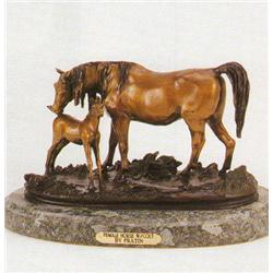 FEMALE HORSE WITH COLT BRONZE SCULPTURE BY FRATIN.