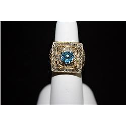 Lady's 10K Yellow Gold Diamond & Topaz Ring