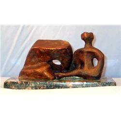Henry Moore Original Limited Edition Bronze - Working Model For Reclining Figure