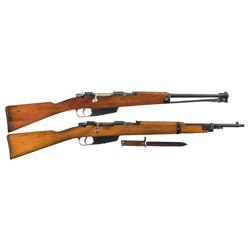 Two Italian Bolt Action Carbines A) Italian Carcano Model 1938 Mountain Carbine with Bayonet