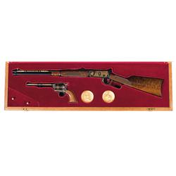 Winchester/Colt Cased Commemorative Carbine/Revolver Set A) Engraved Winchester Model 94 Lever Actio