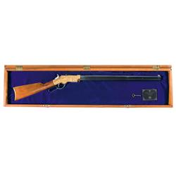 "Cased Engraved American Historical Foundation Uberti ""President Lincoln"" Commemorative Henry Rifle"