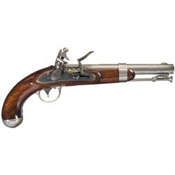 Excellent U.S. Model 1836 Johnson Contract Flintlock Pistol