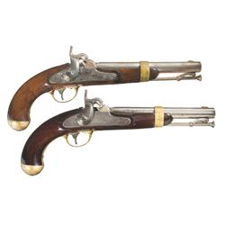 Two U.S. Martial Percussion Pistols A) Aston U.S. Model 1842 Percussion Pistol