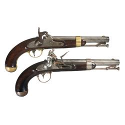 Two U.S. Antique Martial Pistols A) U.S. Aston Model 1842 Percussion Pistol