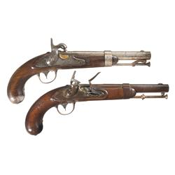 Two U.S. Model 1836 Pistols A) U.S. Waters Model 1836 Percussion Conversion Pistol