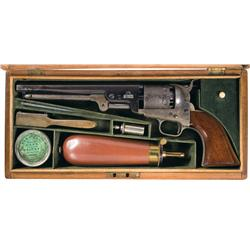 Excellent and Rare Cased Early Production Colt London Model 1851 Navy Revolver with Accessories