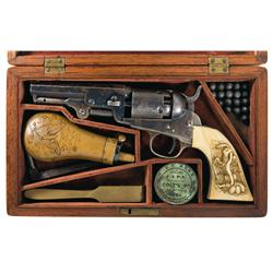 Factory Cased Colt Model 1849 Pocket Revolver with Relief-Carved Ivory Grips