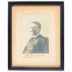 Rare Framed Autographed Studio Portrait Photograph of President Theodore Roosevelt