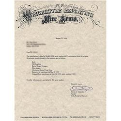 Special Order Antique Winchester Deluxe Model 1894 Lever Action Rifle with Cody Letter