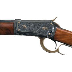Elaborate Custom Relief Engraved Gold Inlaid Winchester Model 1892 Lever Action Rifle