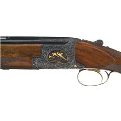 "Outstanding ""Bleus"" Signed Engraved Gold Inlaid Belgium Browning Midas Grade Superposed Shotgun with"