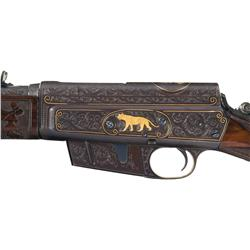 John A. Gough Engraved and Gold Inlaid Remington Model 8 Woodsmaster Semi-Automatic Rifle with Left