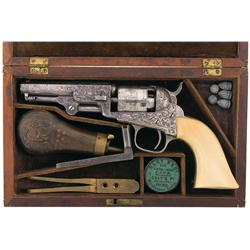 Extraordinary Silver Plated Gustave Young Factory Engraved Colt Model 1849 Pocket Percussion Revolve