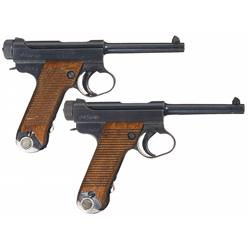 Two Nagoya Type 14 Nambu Pistols with Matching Magazines A) Nagoya Type 14 Large Trigger guard Nambu