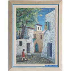 Zvi Livni, Safed Street, Oil Painting