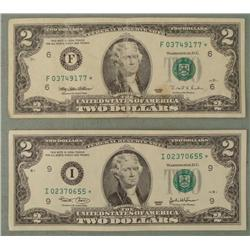 2 Star Notes $2 Two Dollar Bill 1995 F Mint 2003 I Mint