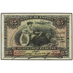 25 Pesetas. 15 Julio 1907. Patio de los leones. Ed-B102; LB-102. MBC. SPANISH BANK NOTES: BANC