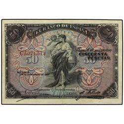 50 Pesetas. 24 Septiembre 1906. Serie C. Ed-B99a. MBC+. SPANISH BANK NOTES: CIVIL WAR, REPUBLI