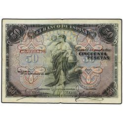50 Pesetas. 24 Septiembre 1906. Serie C. Ed-B99a; LB-99a. MBC. SPANISH BANK NOTES: BANCO DE ES