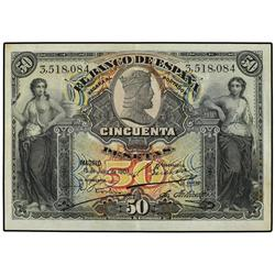 50 Pesetas. 15 Julio 1907. Catedral de Burgos. (Manchitas). Ed-B103; LB-103. MBC. SPANISH BANK