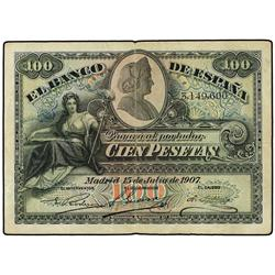 100 Pesetas. 15 Julio 1907. Catedral de Sevilla. Ed-B104; LB-104. MBC. SPANISH BANK NOTES: BAN