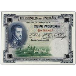 100 Pesetas. 1 Julio 1925. Felipe II. Serie E. Ed-C1; LB-107a. EBC. SPANISH BANK NOTES: CIVIL