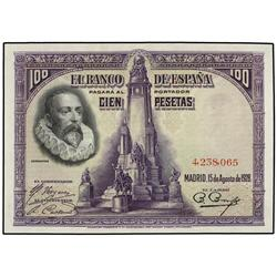 100 Pesetas. 15 Agosto 1928. Cervantes. Sin Serie. Ed-C6. EBC+. SPANISH BANK NOTES: CIVIL WAR,