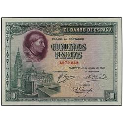500 Pesetas. 15 Agosto 1928. Cardenal Cisneros. Ed-C7. SC. SPANISH BANK NOTES: CIVIL WAR, REPU