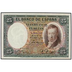 25 Pesetas. 25 Abril 1931. Vicente López. (Leves arruguitas). Ed-C9. SC. SPANISH BANK NOTES: C