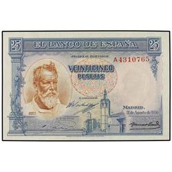25 Pesetas. 31 Agosto 1936. Sorolla. Serie A. Ed-C18a. SC. SPANISH BANK NOTES: CIVIL WAR, REPU