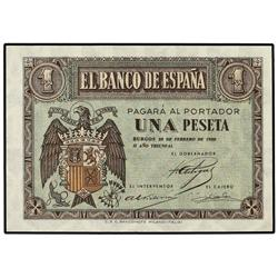1 Peseta. 28 Febrero 1938. Serie C. Ed-D28a. SC. SPANISH BANK NOTES: ESTADO ESPAÑOL