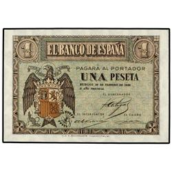 1 Peseta. 28 Febrero 1938. Ed-D28a. SC. SPANISH BANK NOTES: ESTADO ESPAÑOL