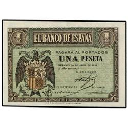 1 Peseta. 30 Abril 1938. Serie I. Ed-D29a. SC. PAPER MONEY OF THE CIVIL WAR: ASTURIAS
