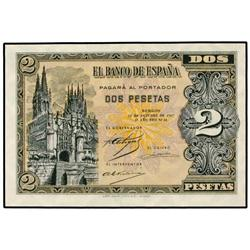 2 Pesetas. 12 Octuber 1937. Catedral de Burgos. Serie A. Ed-D27. SC. SPANISH BANK NOTES: ESTAD