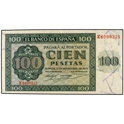 100 Pesetas. 21 Noviembre 1936. Catedral de Burgos. Serie X. Ed-D22a. EBC-. SPANISH BANK NOTES