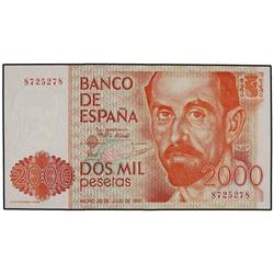 2.000 Pesetas. 22 Julio 1980. Juan Ram&#243;n Jim&#233;nez. &#161;Sin Serie. Numeraci&#243;n capicua 8.725.278. Ed-E5. S