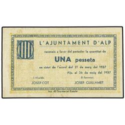 1 Pesseta. 26 Maig 1937. Aj. d´ALP. AT-130. MBC+. PAPER MONEY OF THE CIVIL WAR: CATALUNYA